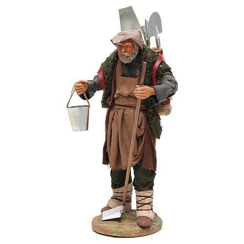 Man with farming tools, Neapolitan nativity figurine 24cm 2