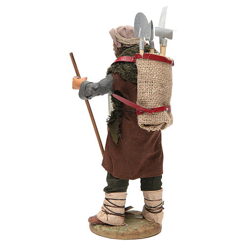 Man with farming tools, Neapolitan nativity figurine 24cm 3