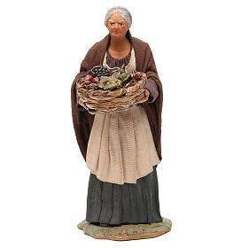 Old lady with fruit basket and straw, Neapolitan nativity figurine 24cm s1