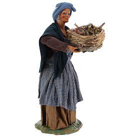 Old lady with fruit basket and straw, Neapolitan nativity figurine 24cm s4