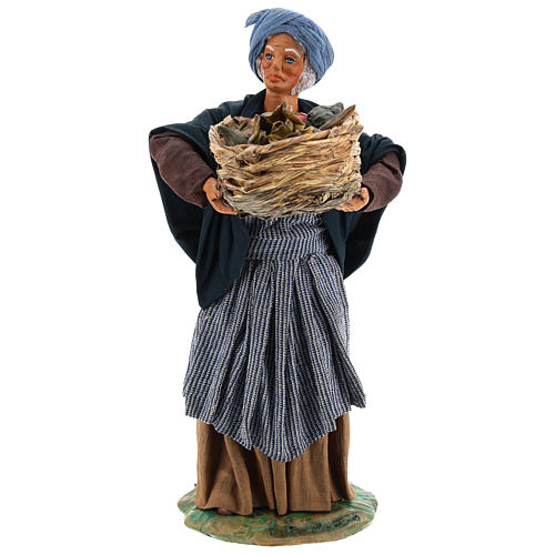 Old lady with fruit basket and straw, Neapolitan nativity figurine 24cm 1