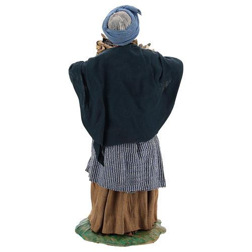Old lady with fruit basket and straw, Neapolitan nativity figurine 24cm 5