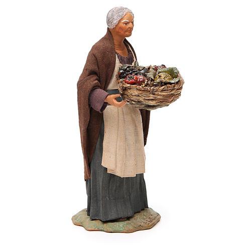 Vecchia cesto frutta e paglia 24 cm presepe Napoli 4