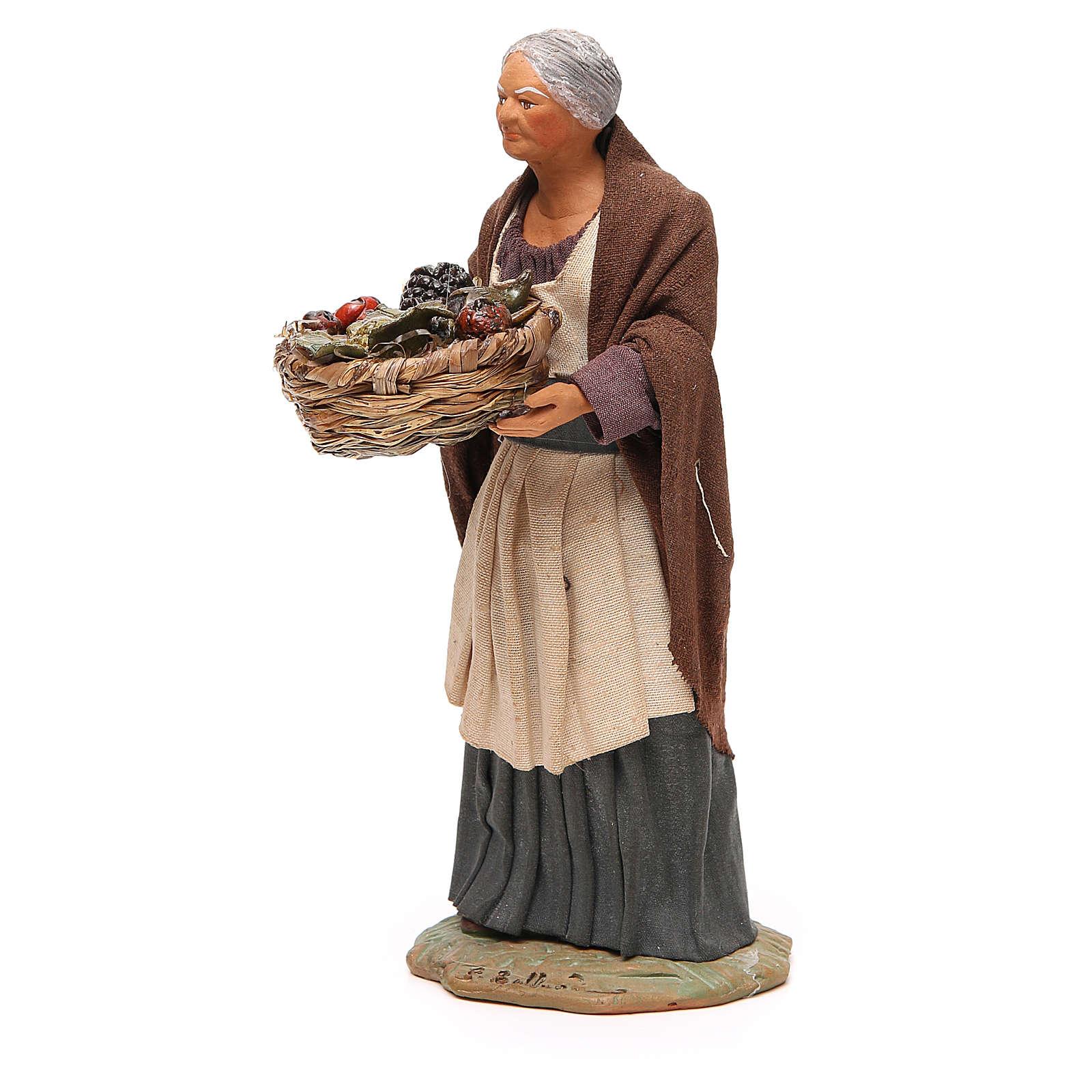 Old lady with fruit basket and straw, Neapolitan nativity figurine 24cm 4