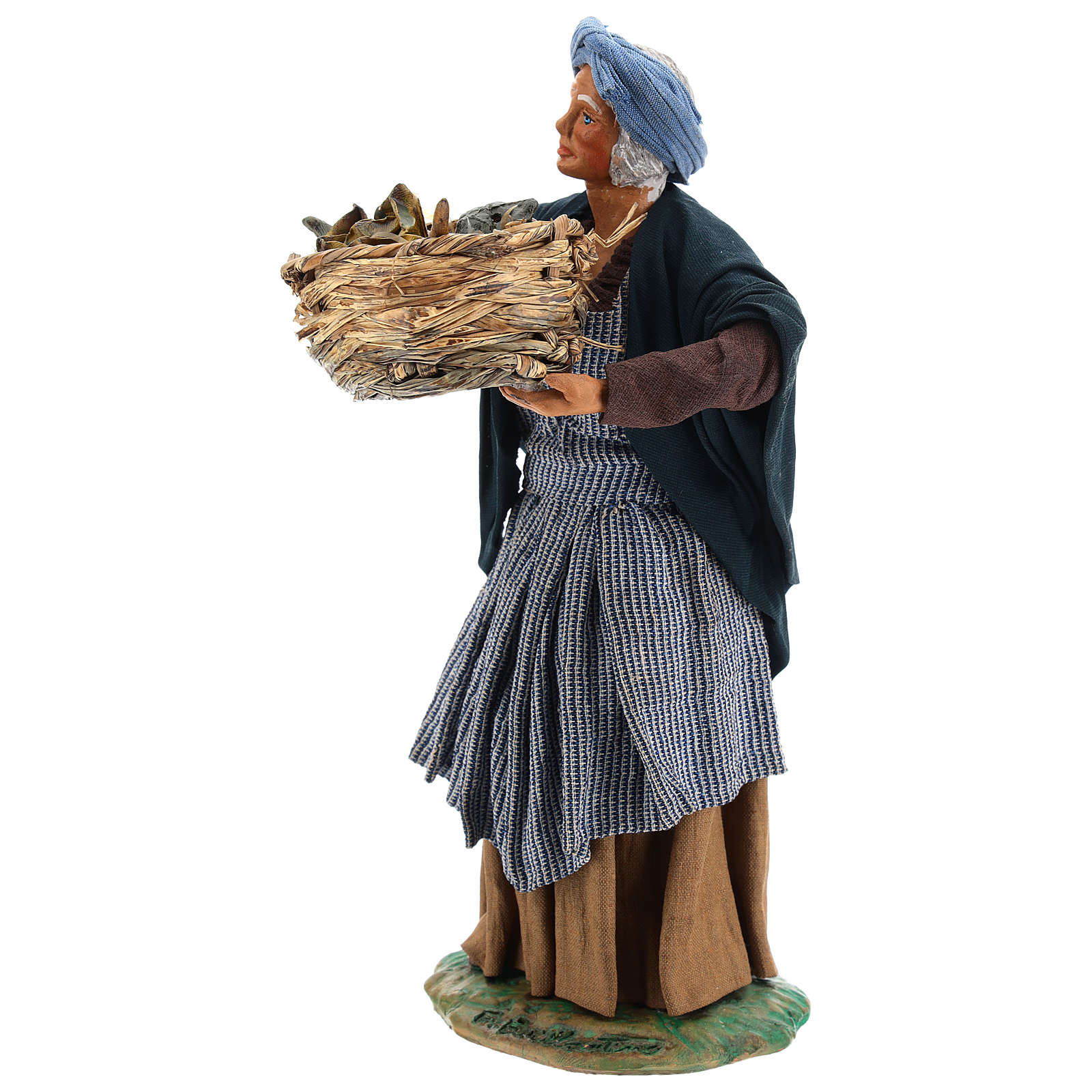 Old lady with fruit basket and straw, Neapolitan nativity figurine 24cm 4