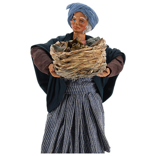Old lady with fruit basket and straw, Neapolitan nativity figurine 24cm 2