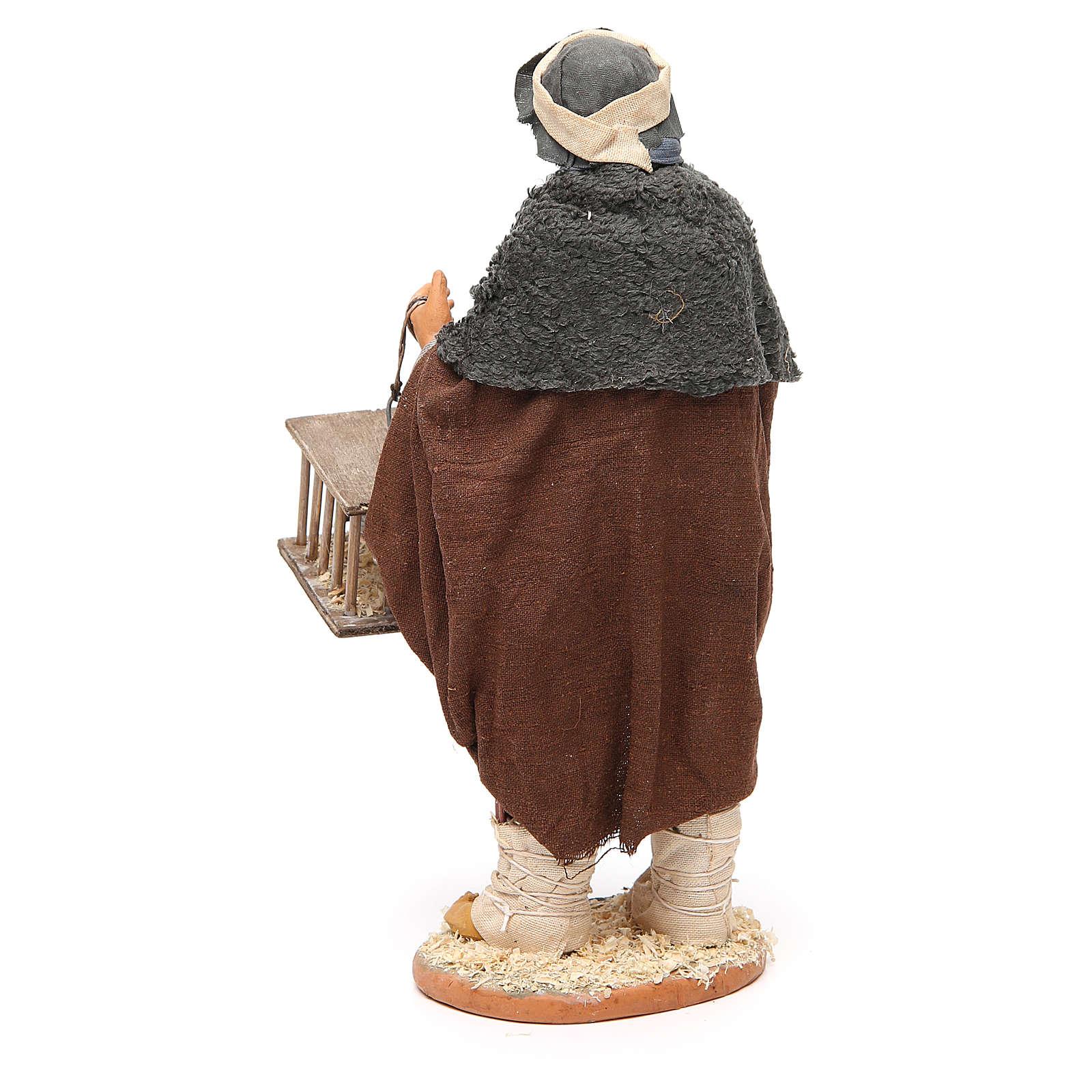 Hombre con pájaros y jaulas 30 cm belén napolitano 4