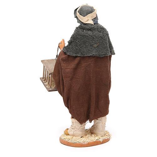 Hombre con pájaros y jaulas 30 cm belén napolitano 3