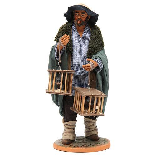 Uomo con gabbie di uccelli 30 cm presepe napoletano 1