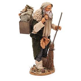 Homme caisse feuilles et balais 30 cm crèche Naples s4
