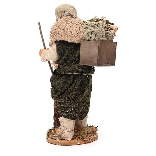 Homme caisse feuilles et balais 30 cm crèche Naples 3