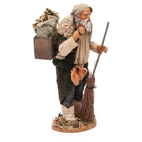 Homme caisse feuilles et balais 30 cm crèche Naples 4