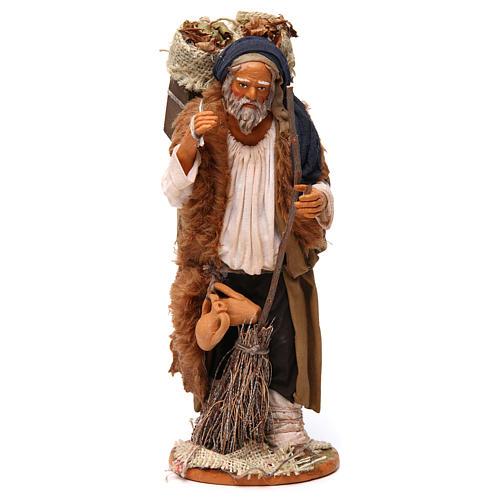 Uomo cassetta foglie e scopa 30 cm presepe Napoli 1