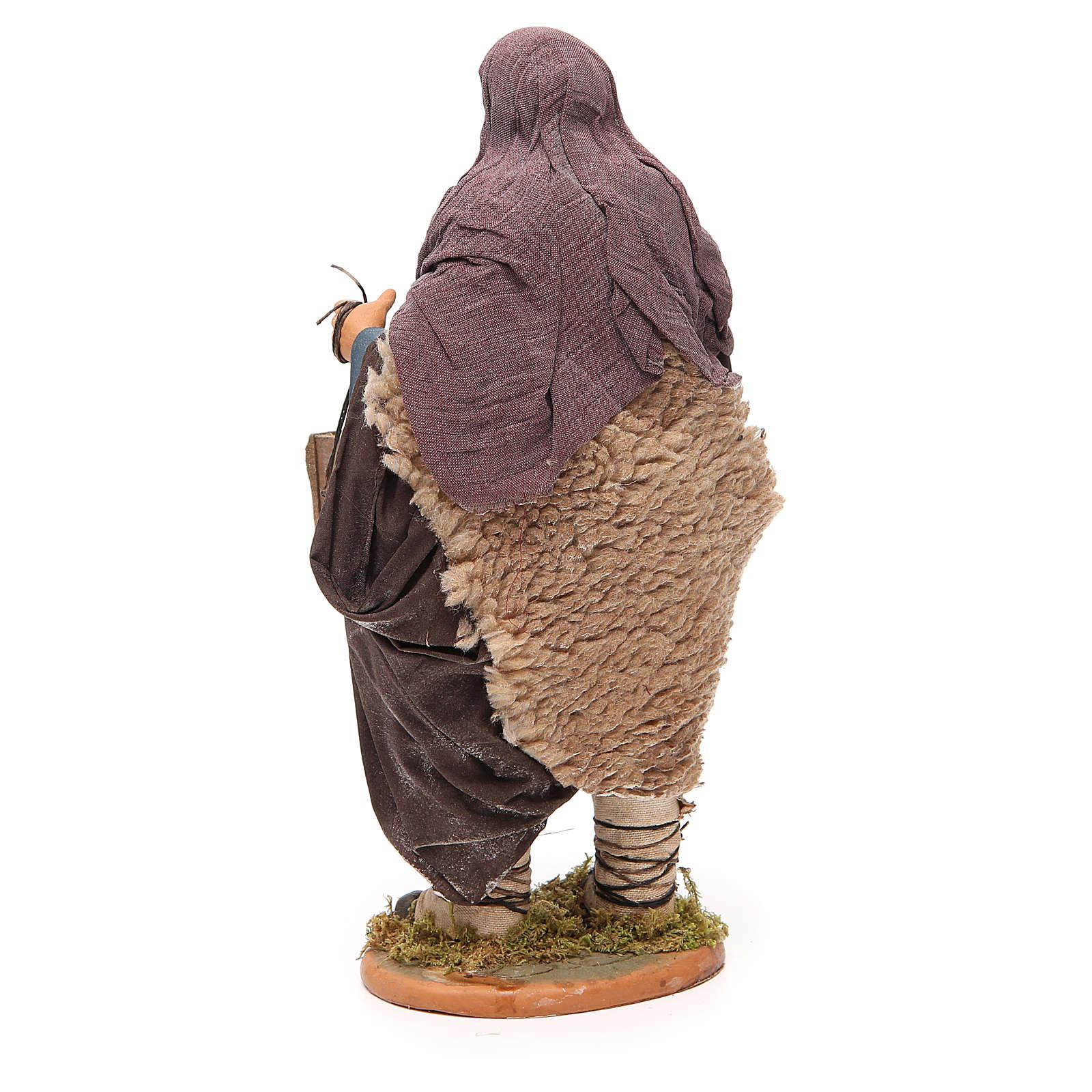 Uomo con gabbia e cane 30 cm presepe napoletano 4