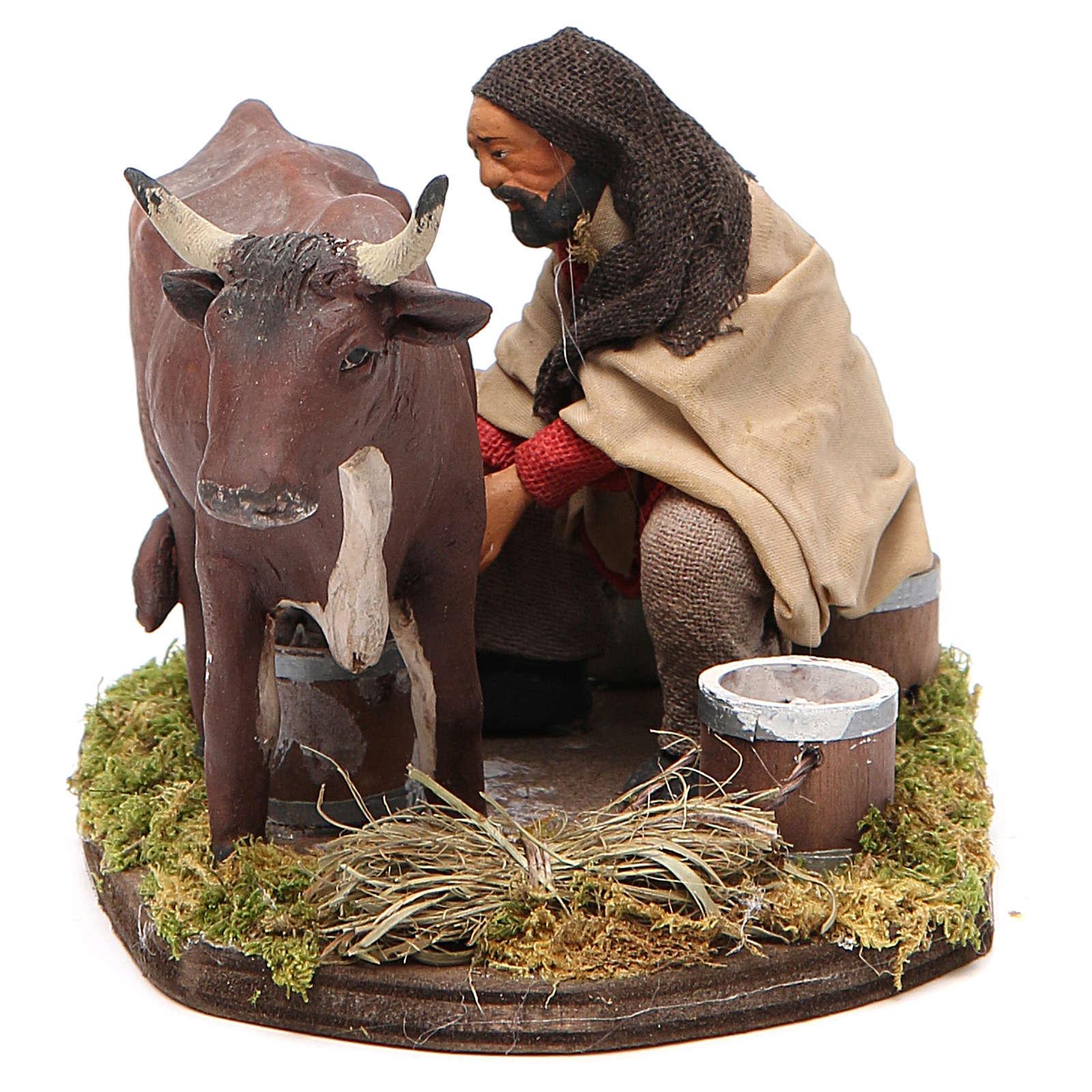 Homme qui trait une vache 12 cm crèche napolitaine 4