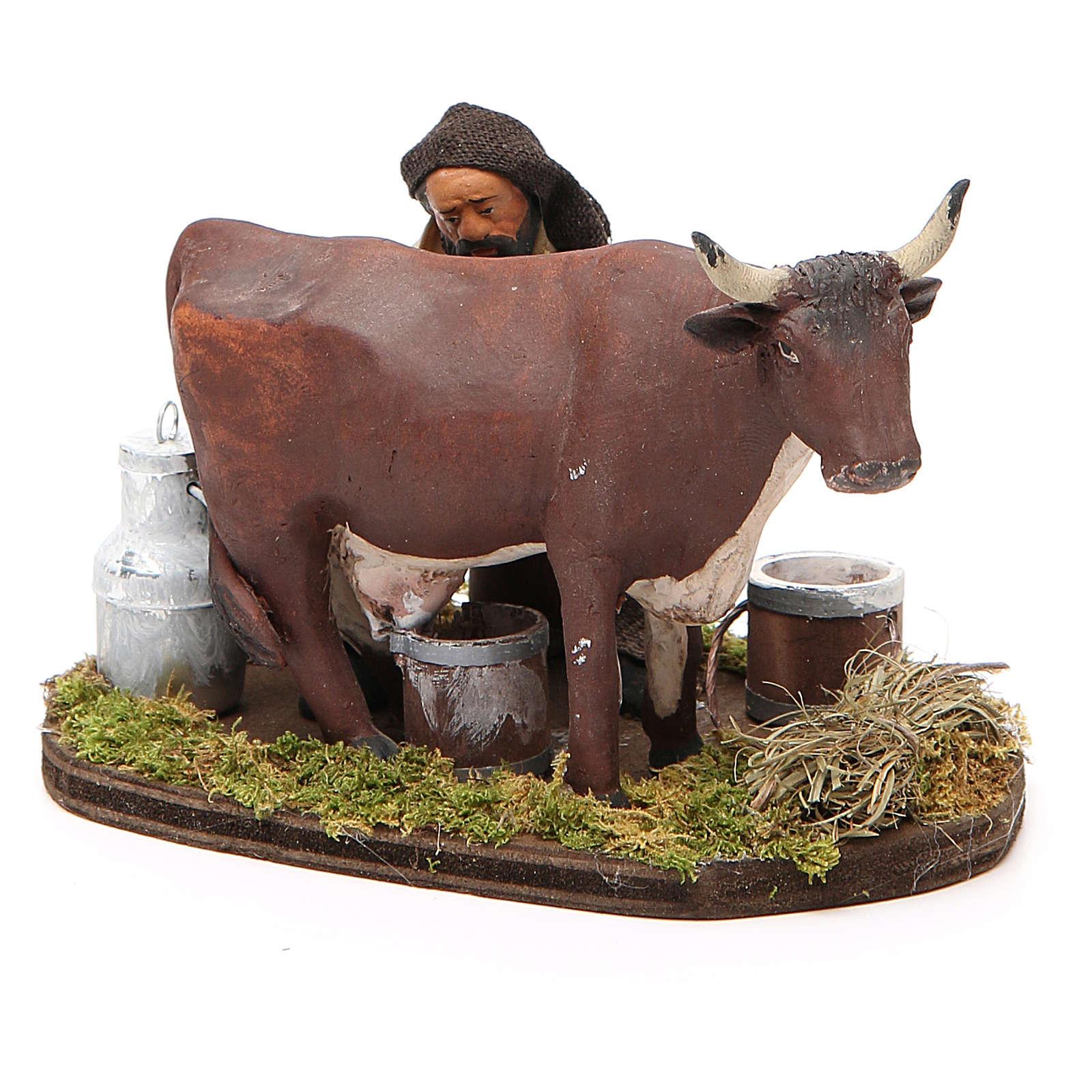 Uomo che munge mucca 12 cm presepe Napoli 4