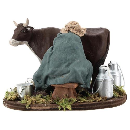 Man milking cow, Neapolitan nativity figurine 12cm 1