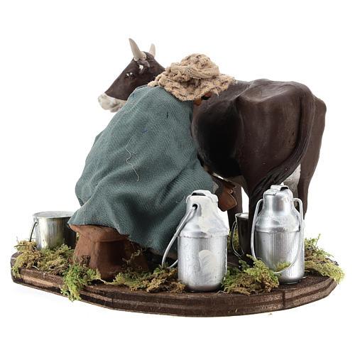 Man milking cow, Neapolitan nativity figurine 12cm 4