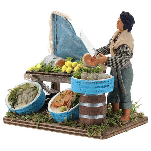 Fishmonger with wooden stall, Neapolitan nativity figurine 12cm 3