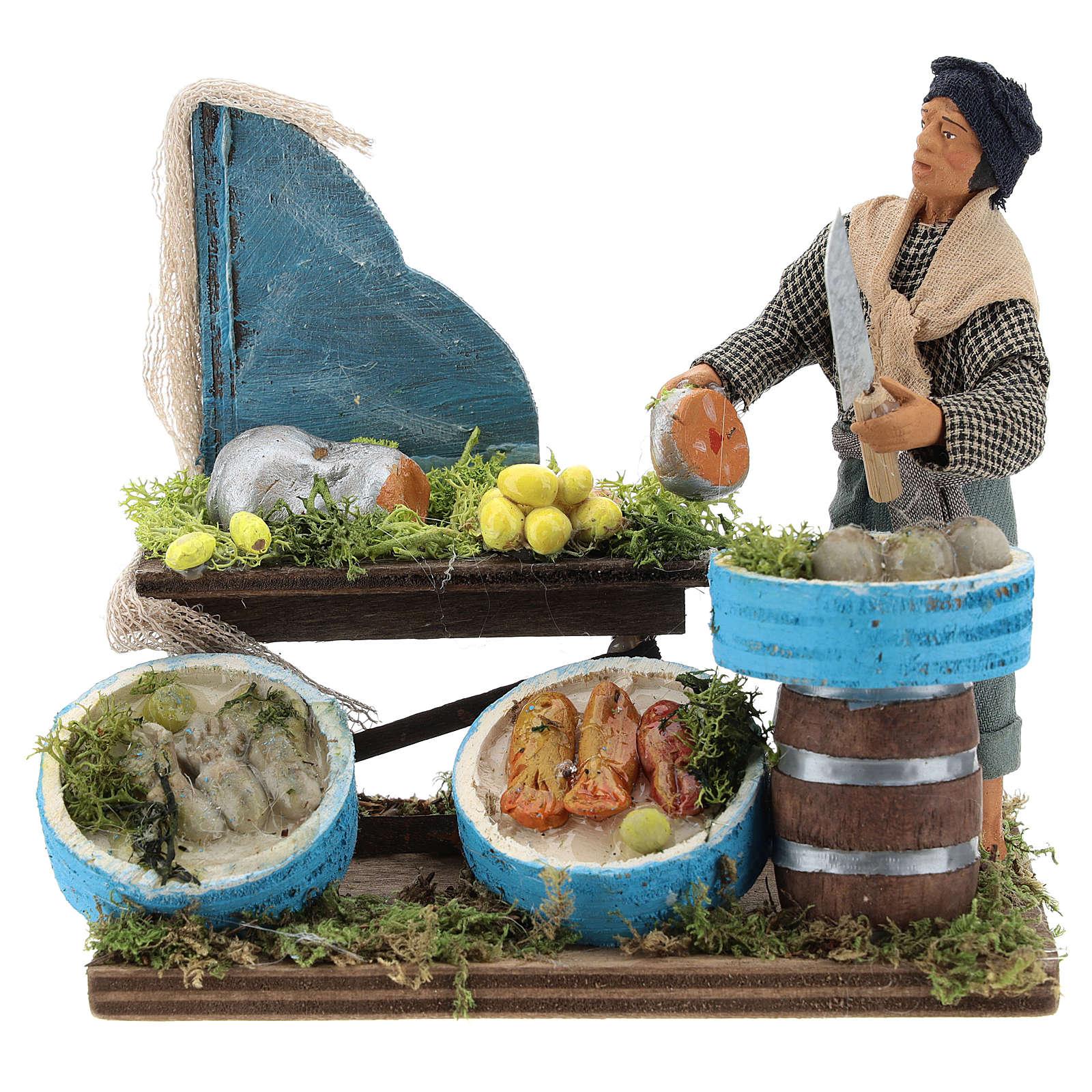 Pescador con banco de maderas 12 cm belén Nápoles 4