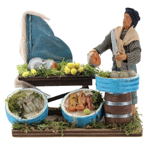 Pescador con banco de maderas 12 cm belén Nápoles 1