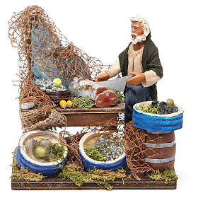 Fishmonger with wooden stall, Neapolitan nativity figurine 12cm s1