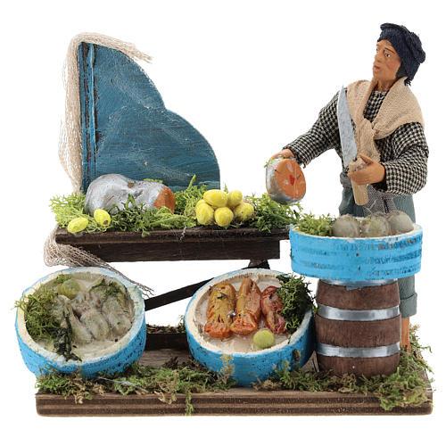 Fishmonger with wooden stall, Neapolitan nativity figurine 12cm 1