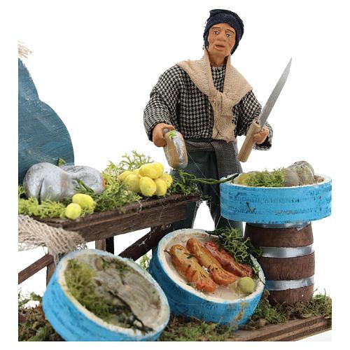 Fishmonger with wooden stall, Neapolitan nativity figurine 12cm 2