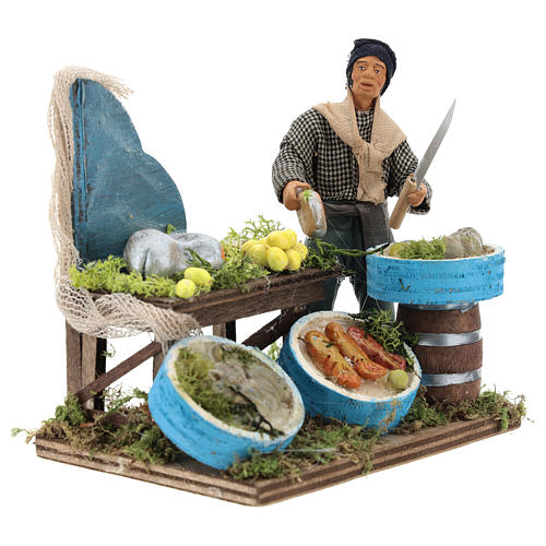 Fishmonger with wooden stall, Neapolitan nativity figurine 12cm 4