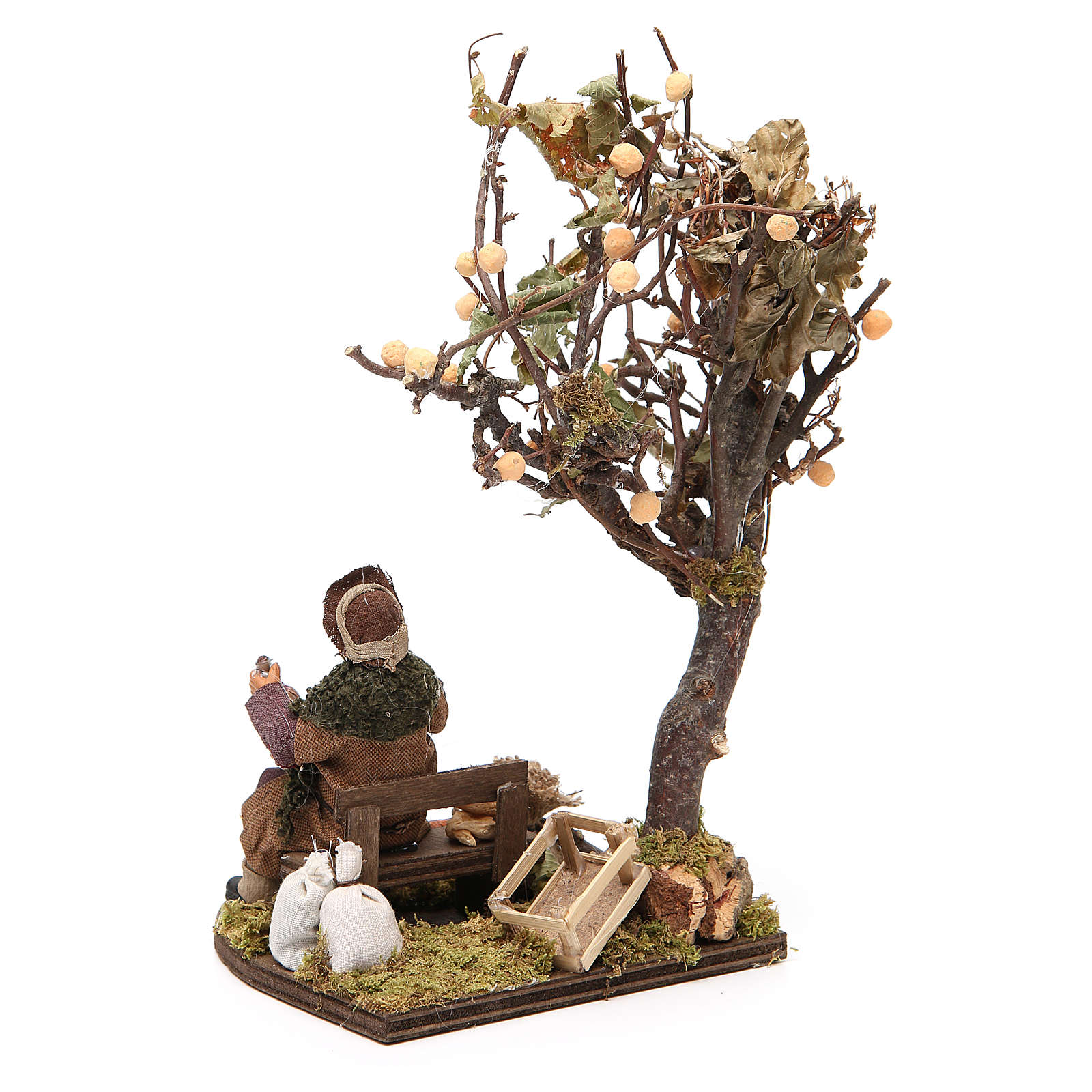 Wayfarer with dog on bench and tree, Neapolitan nativity 12cm 4