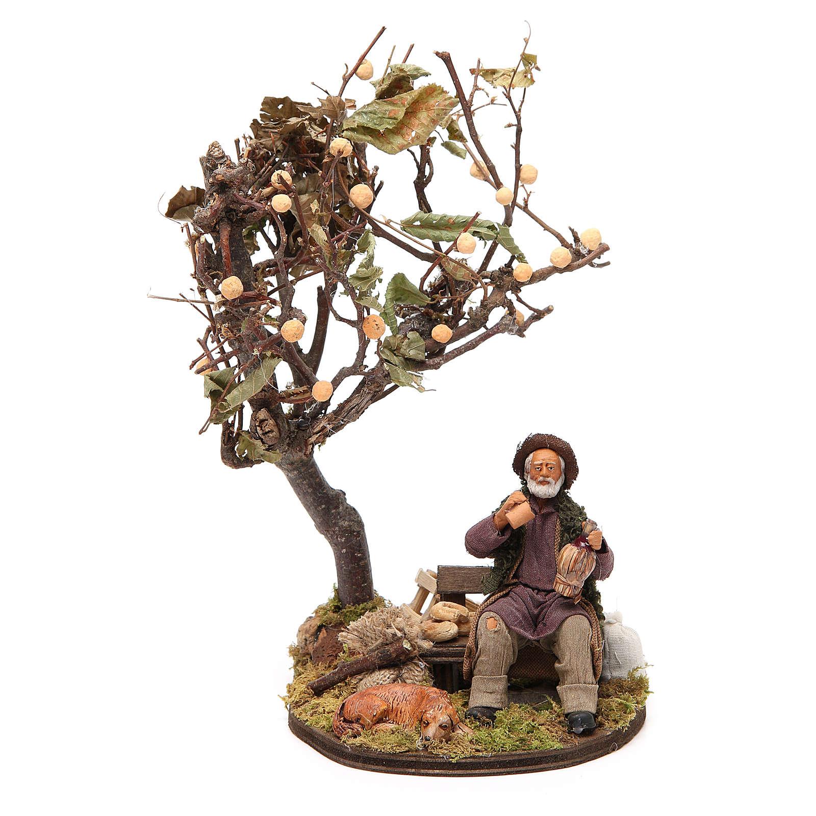 Vagabond avec chien sur banc arbre 12 cm crèche Naples 4