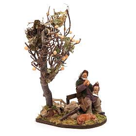 Vagabond avec chien sur banc arbre 12 cm crèche Naples s4