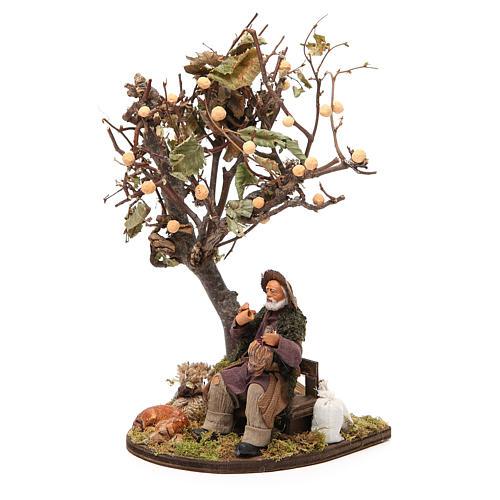 Vagabond avec chien sur banc arbre 12 cm crèche Naples 2