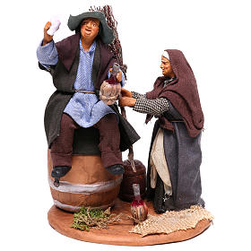 Neapolitan Nativity Scene: Scene with drunken man and woman with broomstick, Neapolitan nativity 12cm