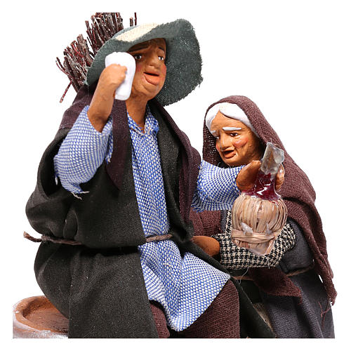 Scene with drunken man and woman with broomstick, Neapolitan nativity 12cm 2