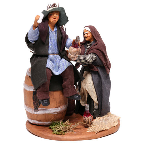Scene with drunken man and woman with broomstick, Neapolitan nativity 12cm 4