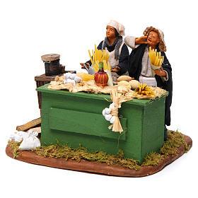 Man making pasta with stall, Neapolitan nativity figurine 12cm s2