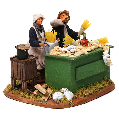 Man making pasta with stall, Neapolitan nativity figurine 12cm 3
