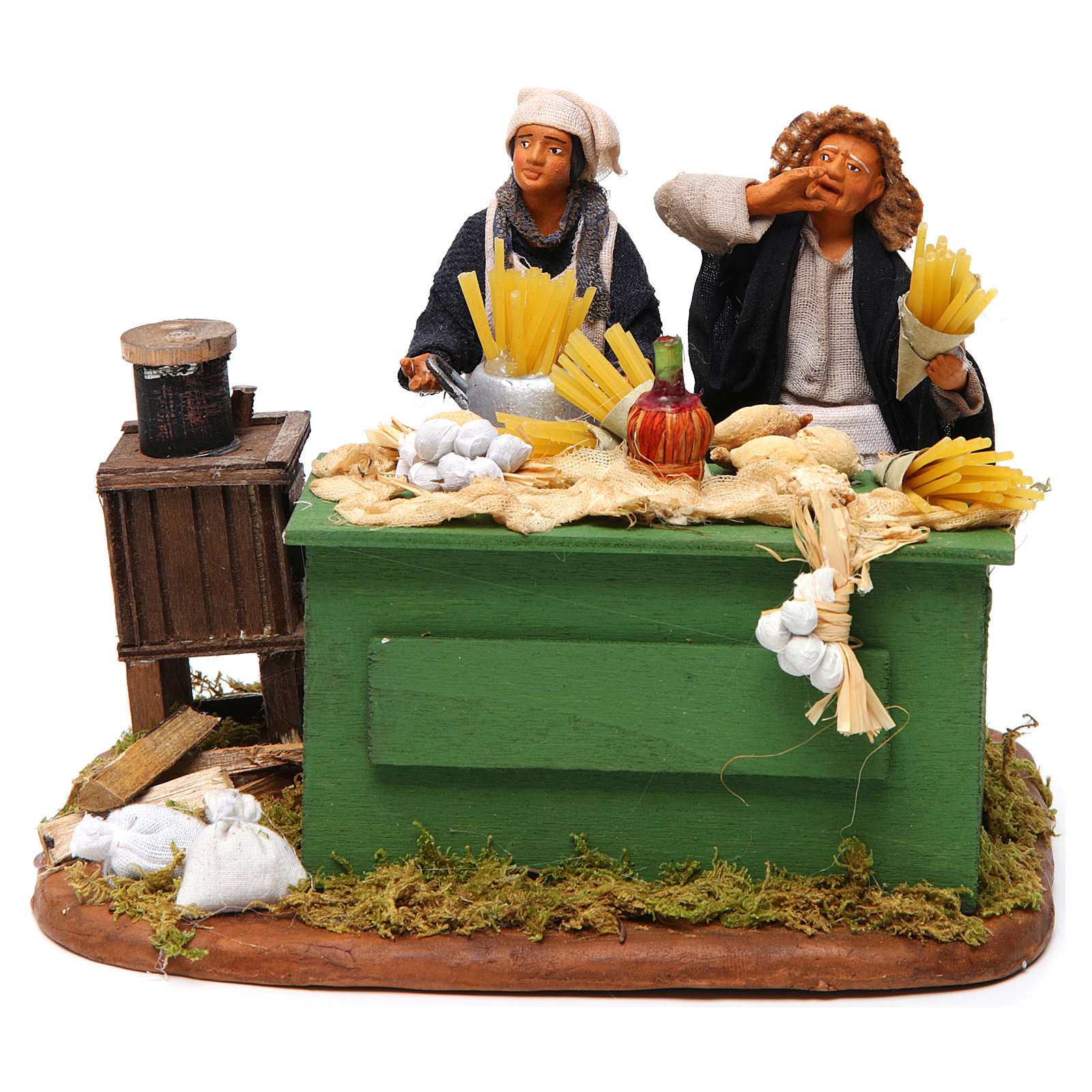 Hombre que hace macarrones con banco belén de Nápoles 12 cm 4