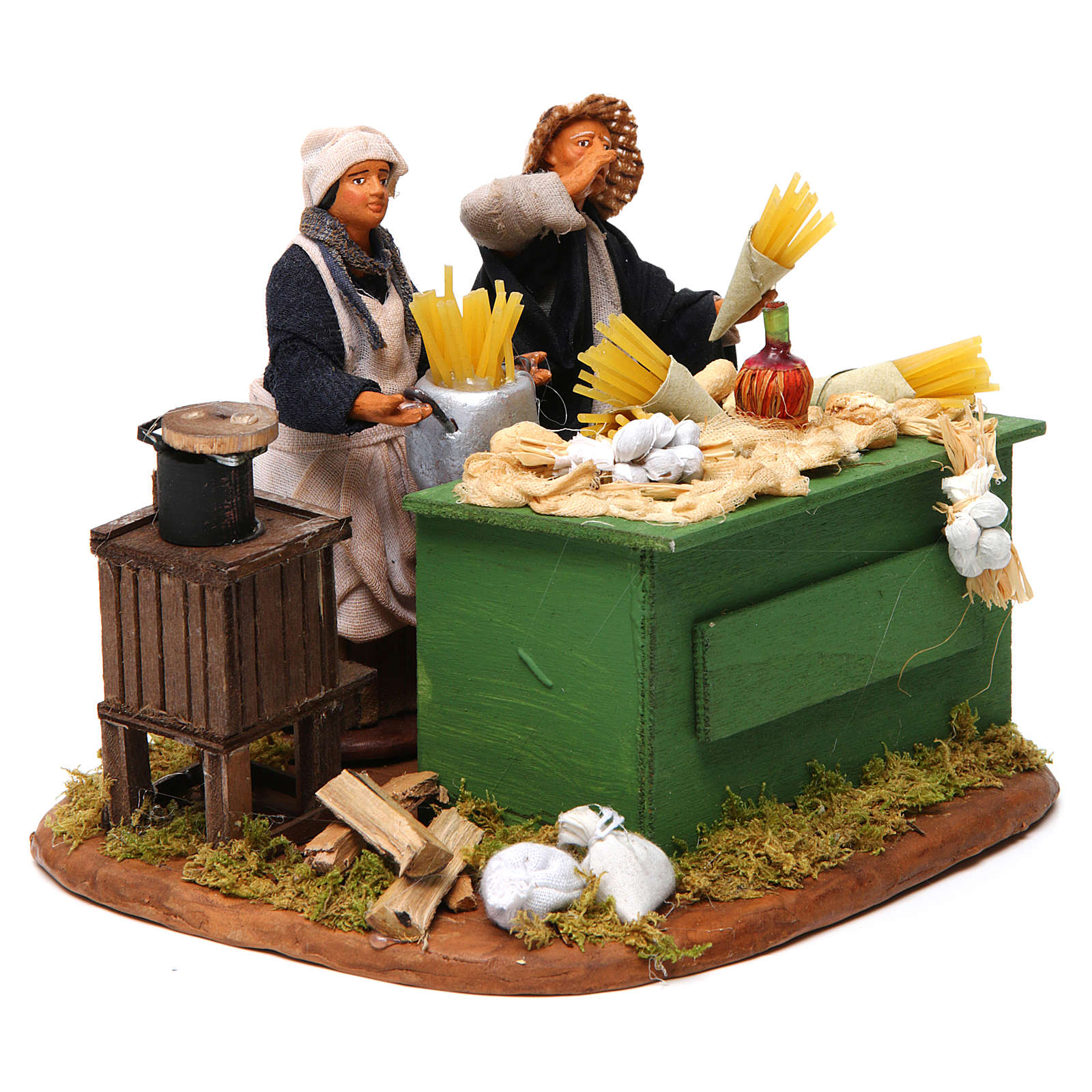 Man making pasta with stall, Neapolitan nativity figurine 12cm 4