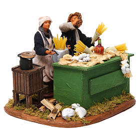 Man making pasta with stall, Neapolitan nativity figurine 12cm s3