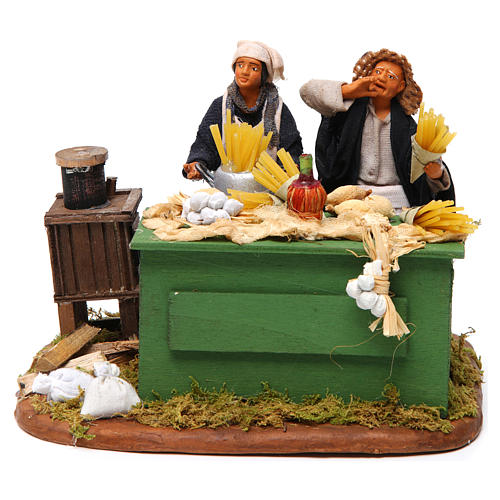 Man making pasta with stall, Neapolitan nativity figurine 12cm 1