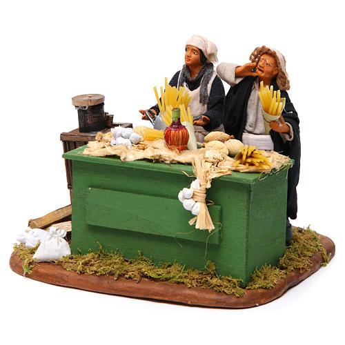 Man making pasta with stall, Neapolitan nativity figurine 12cm 2