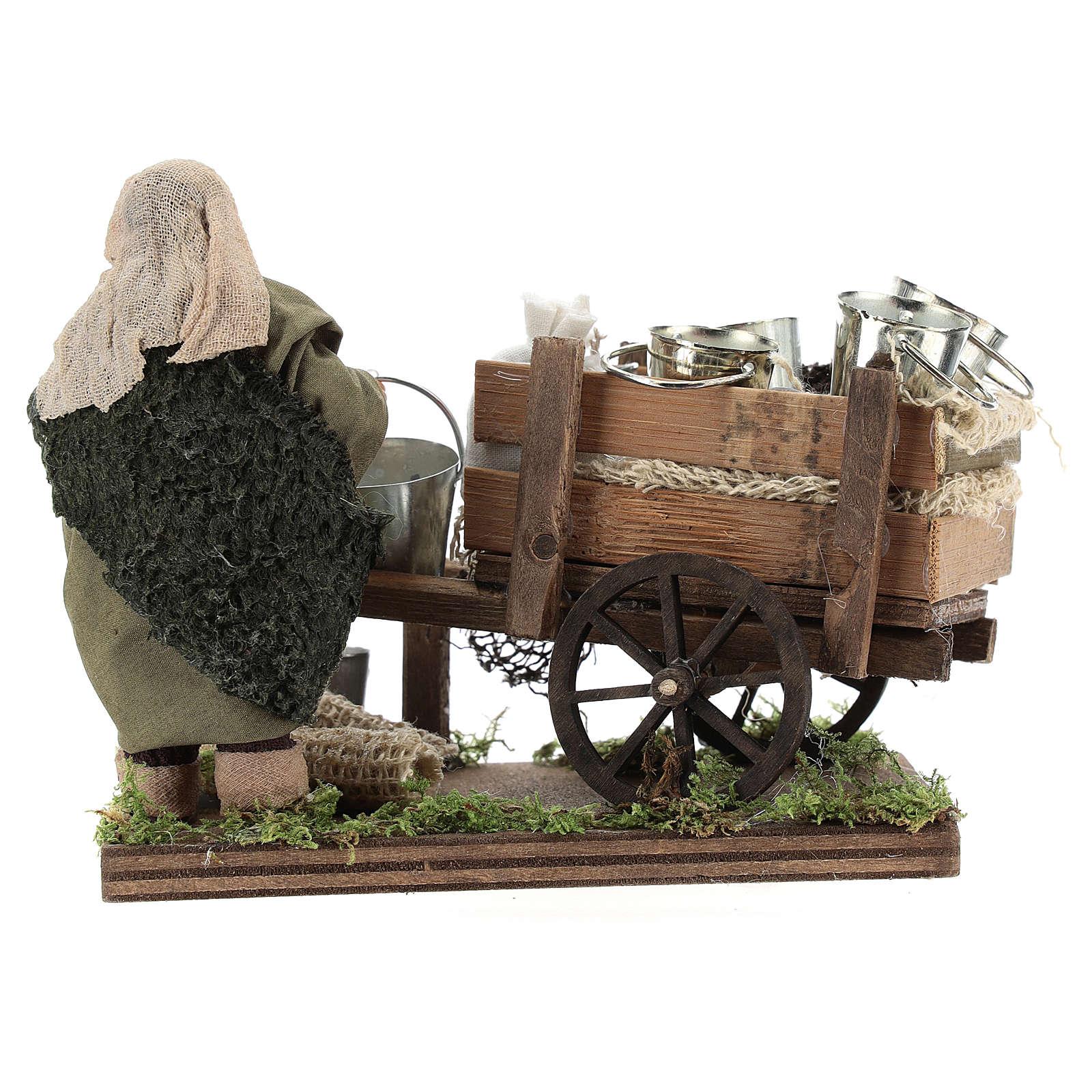 Man with cart of aluminium buckets, Neapolitan nativity figurine 10cm 4