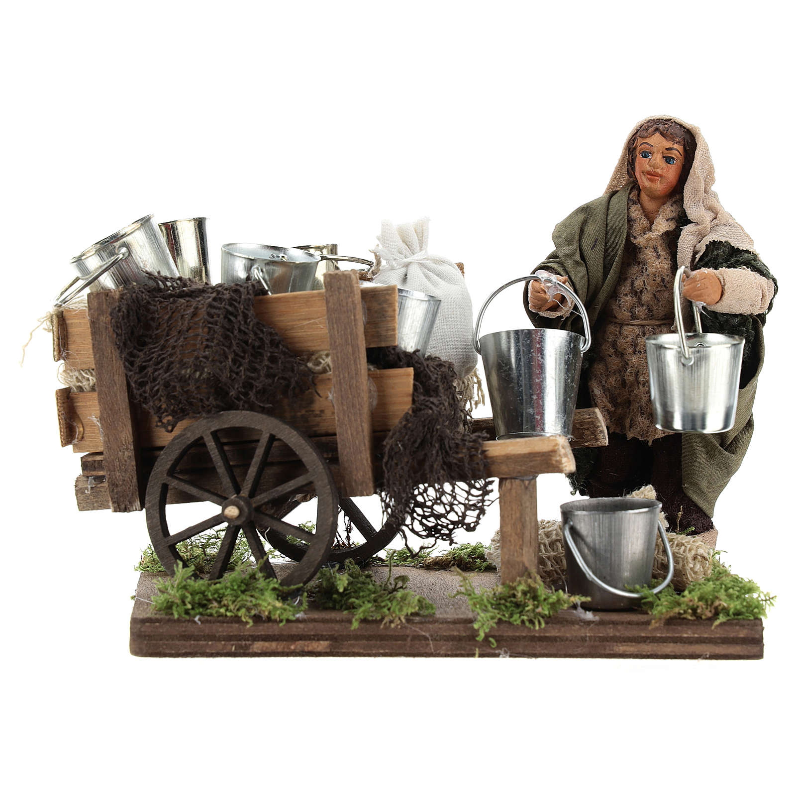 Man with cart of aluminium buckets, Neapolitan nativity figurine 10cm 4