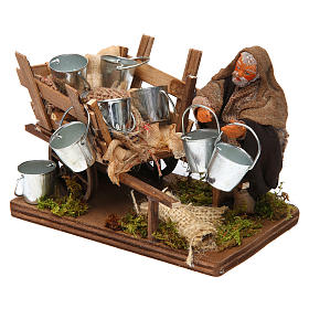Man with cart of aluminium buckets, Neapolitan nativity figurine 10cm s2