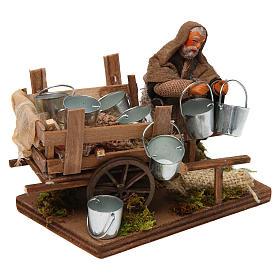 Man with cart of aluminium buckets, Neapolitan nativity figurine 10cm s3
