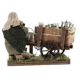 Man with cart of aluminium buckets, Neapolitan nativity figurine 10cm s4