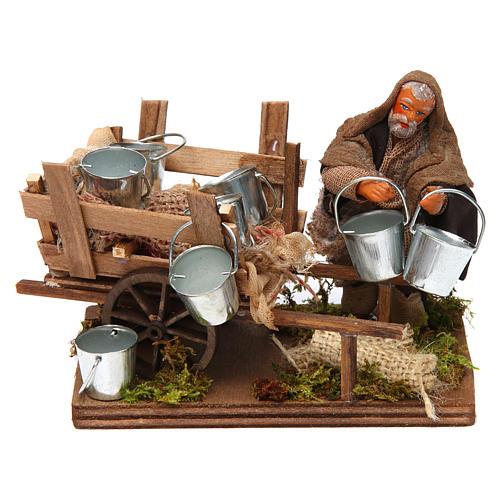 Man with cart of aluminium buckets, Neapolitan nativity figurine 10cm 1