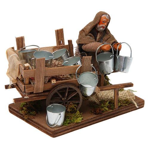 Man with cart of aluminium buckets, Neapolitan nativity figurine 10cm 3